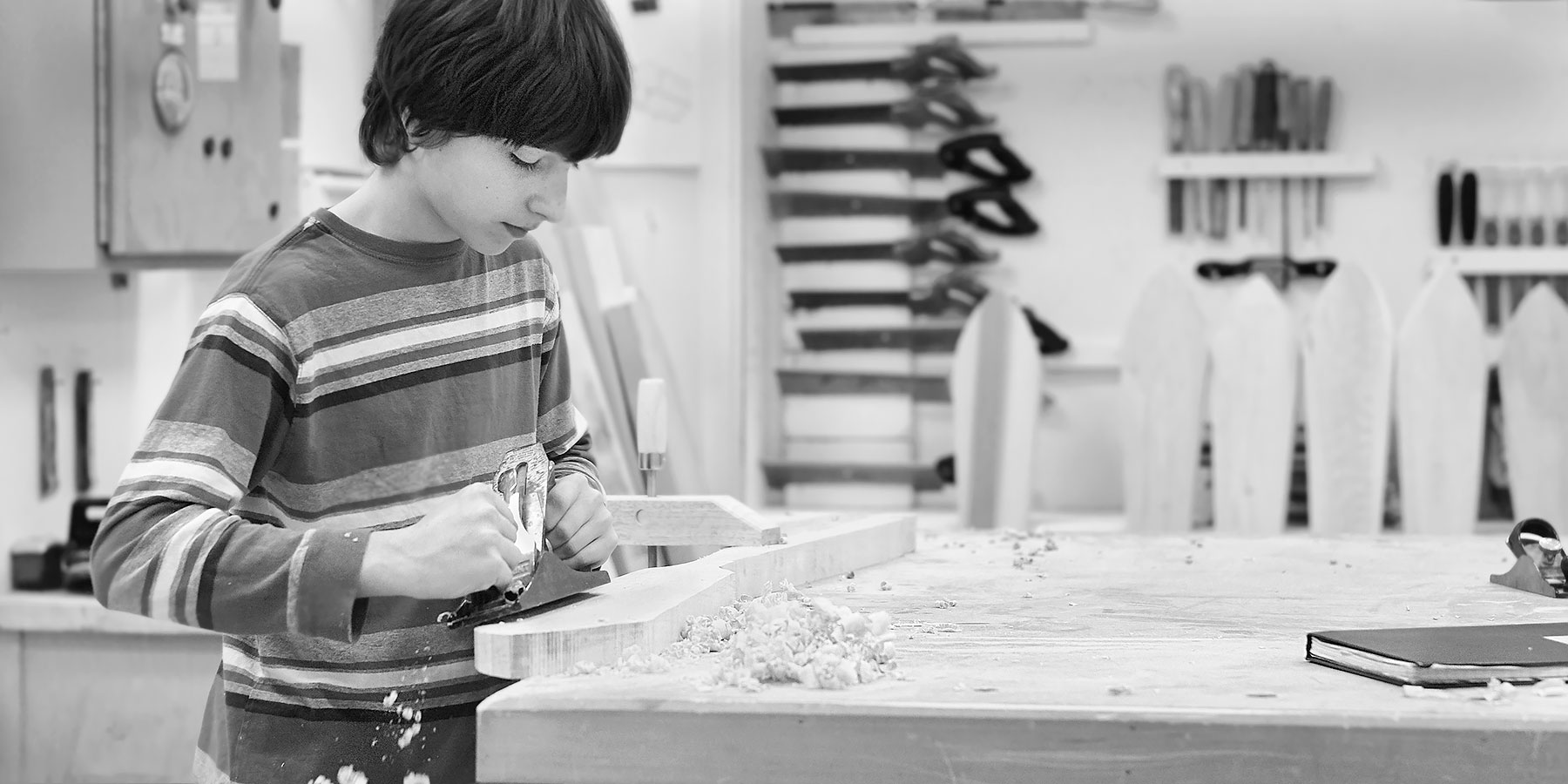 Shaping a Paddle in the Saltspring Island Middle School Workshop ©johncameron.ca