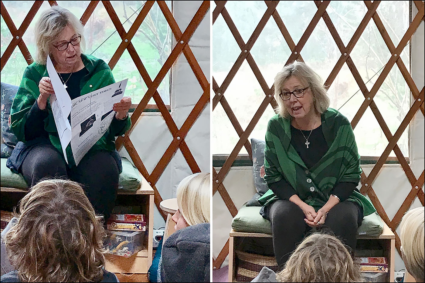 Elizabeth May at yurt classroom (Sue Starkey)