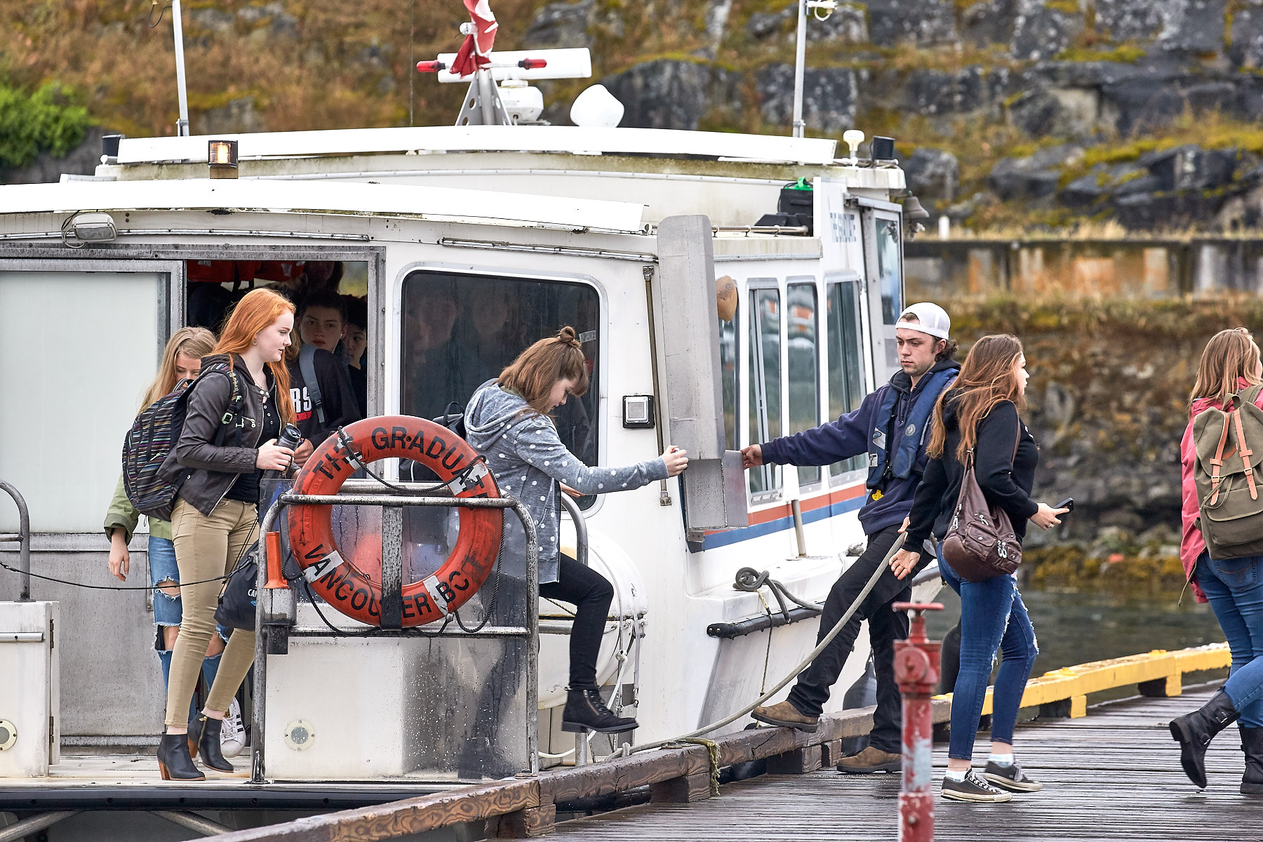 Students leave the water taxi at Ganges on Salt Spring Island ©johncameron.ca